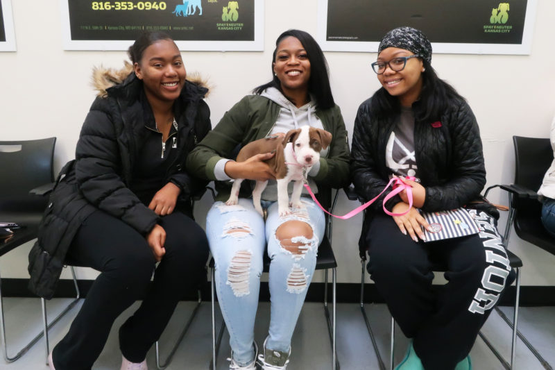 Clients in the waiting room of Pet Resource Center of Kansas City wellness clinic.