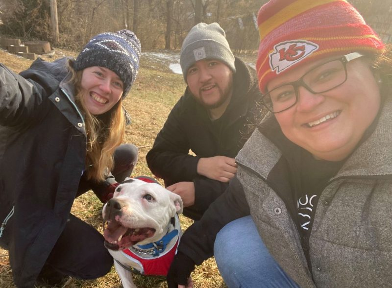 PRCKC posing for a selfie with client's white pit bull