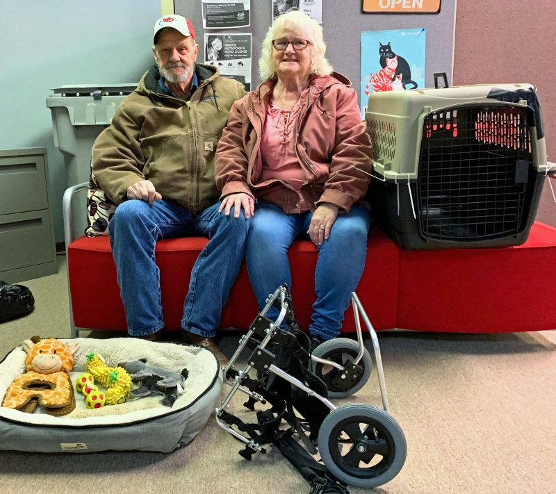 Linda and Ron donate kennel, doggie wheelchair, bed and toys