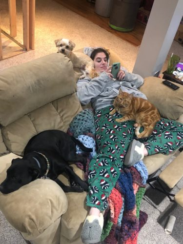 a woman lays on the couch while 2 dogs and 1 cat lay on her