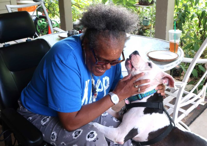 A woman pets her dog, who is jumping up onto her lap