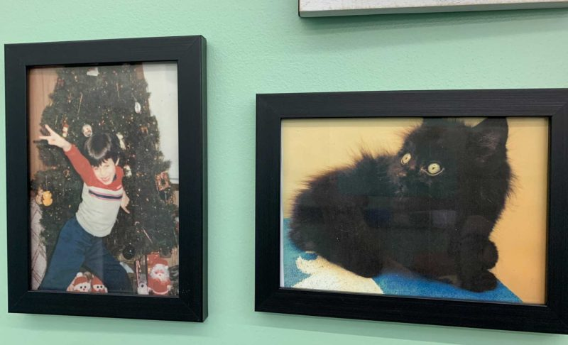 A picture of two photographs side by side, one of a young boy, the other of a kitten