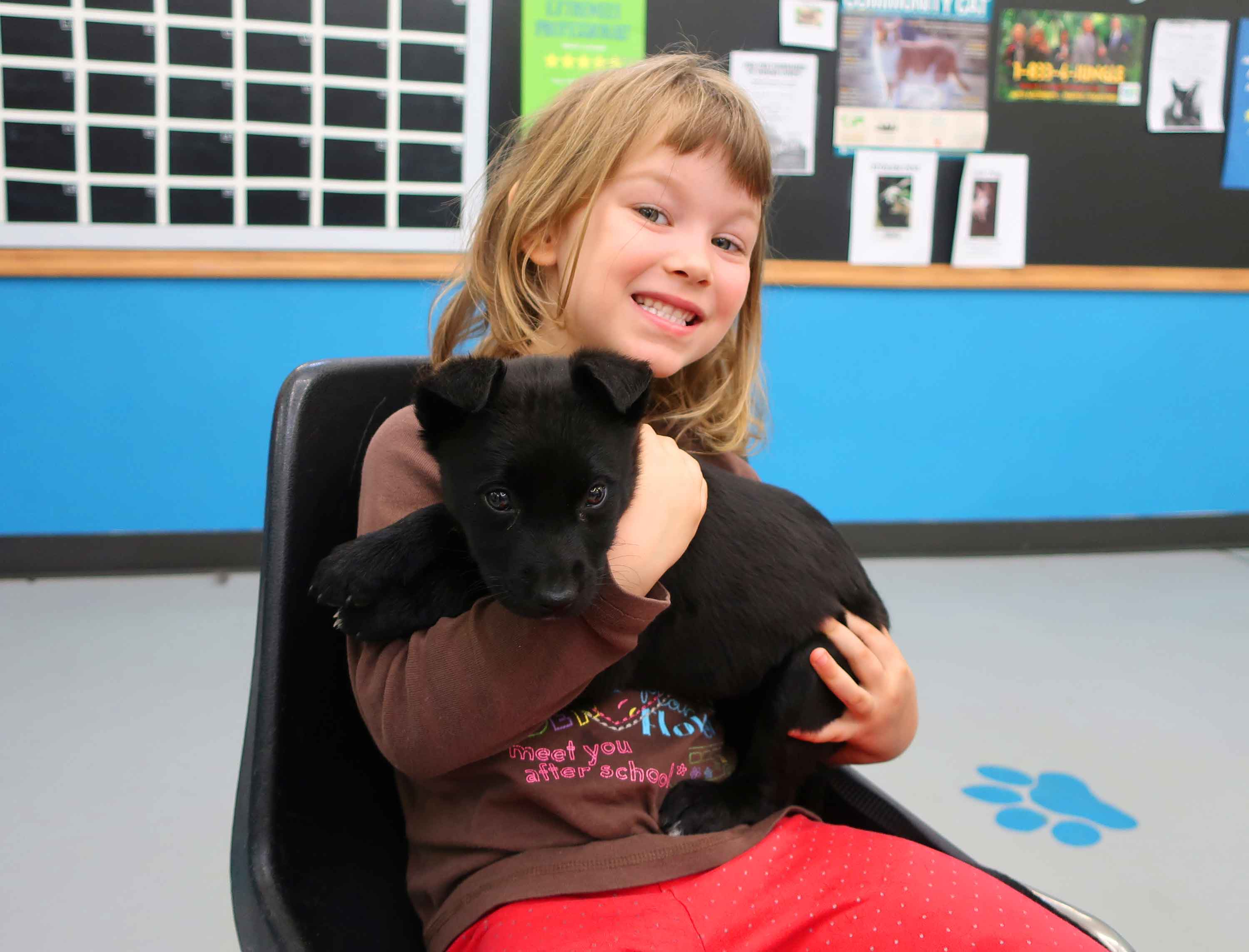 A girl holds a black puppy in her arms and smiles for the camera.