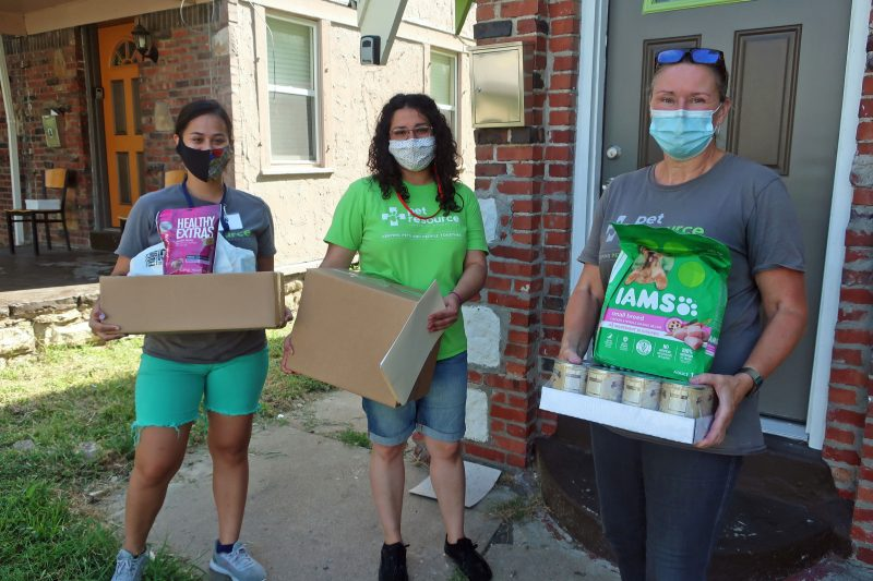 PRCKC staff and volunteers delivering human and pet food for KC Shepherd's Meals on Wheels