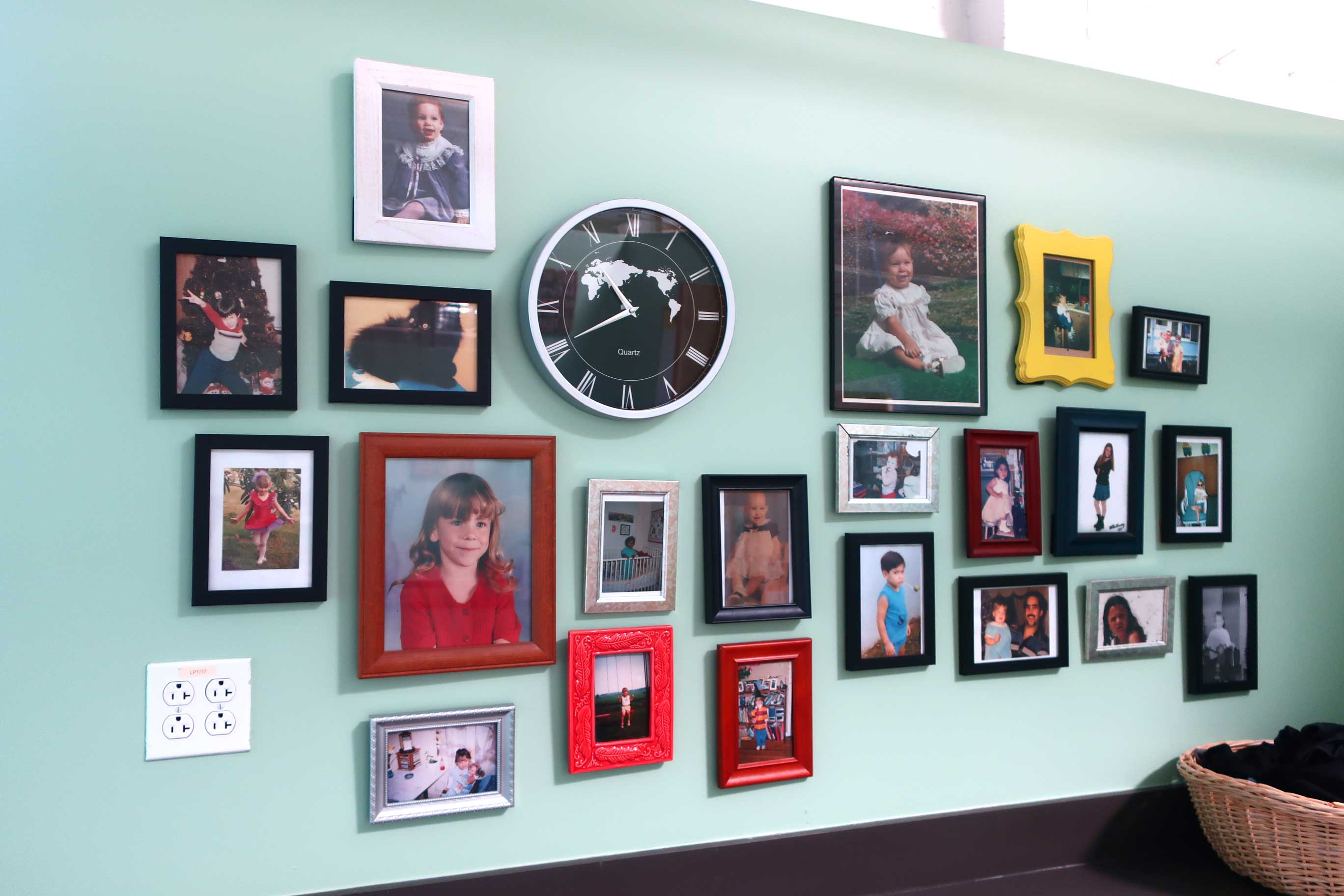 a wall of photographs